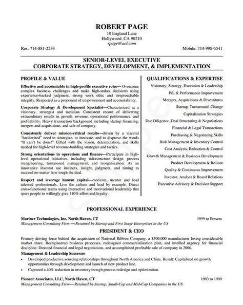 Executive Level Resume Template by 24 Award Winning Ceo Resume Templates Wisestep