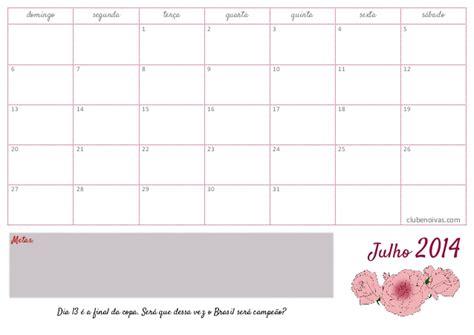Calendario 9 De Julho Calend 225 Julho 2014 Para Imprimir