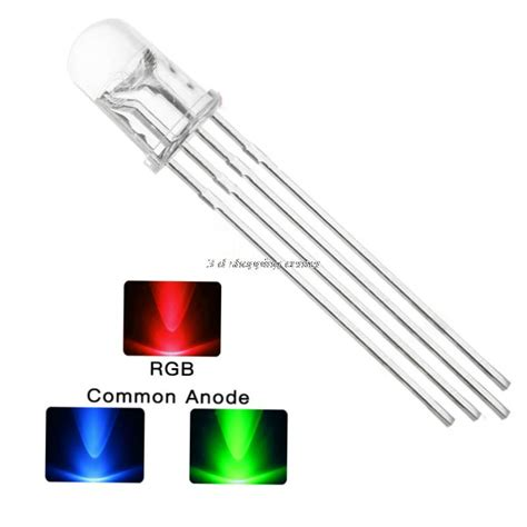 Led Rgb 4 Kaki 10pcs lot 5mm rgb led common cathode 4pin green blue led tricolor led light emitting