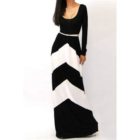 black and white long sleeve red dress sexy color block stripe comfy round neck long sleeve maxi