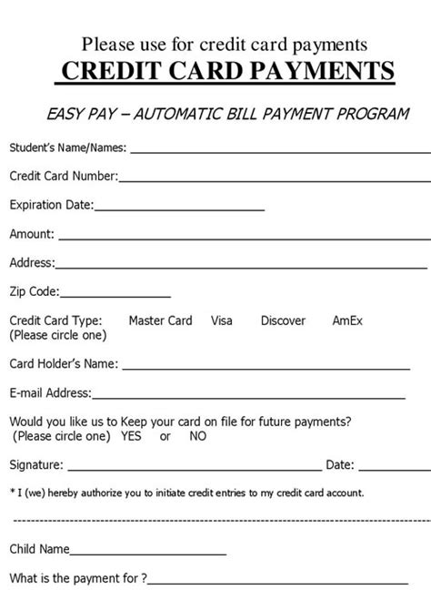 credit card information sheet template charge authorization form