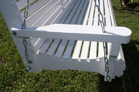 Patio Swing Parts Springs New 6 Foot White Painted Contoured Classic Porch Swing