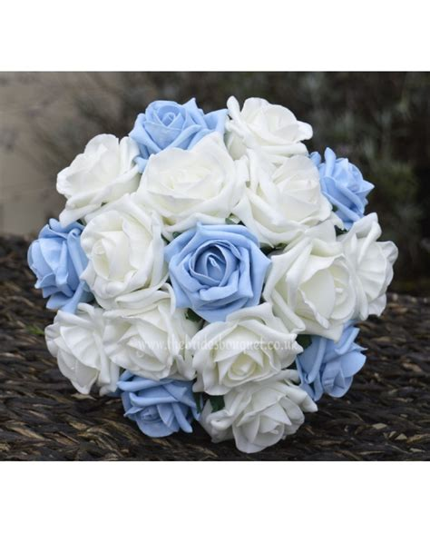 light blue and white roses light blue rose bridesmaid bouquet small bridal posy