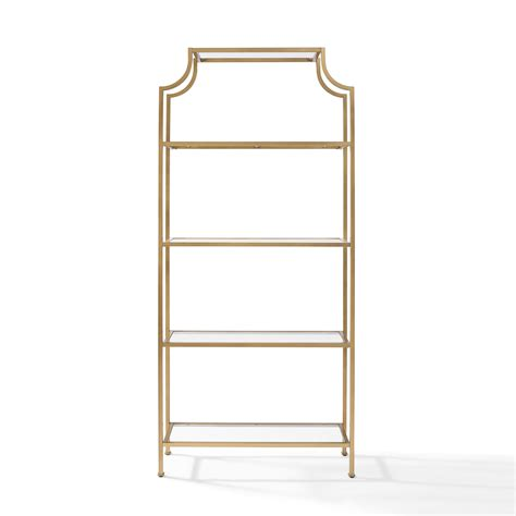 etagere glas aimee gold glass etagere crosley furniture free standing