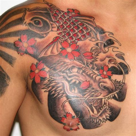 front shoulder tattoos amazing japanese fish on front shoulder