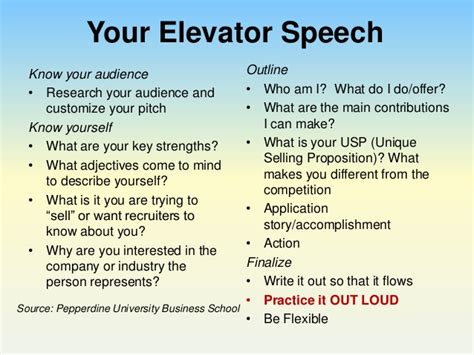 30 Second Elevator Speech Outline by Your Pitch Using An Elevator Speech To Impress