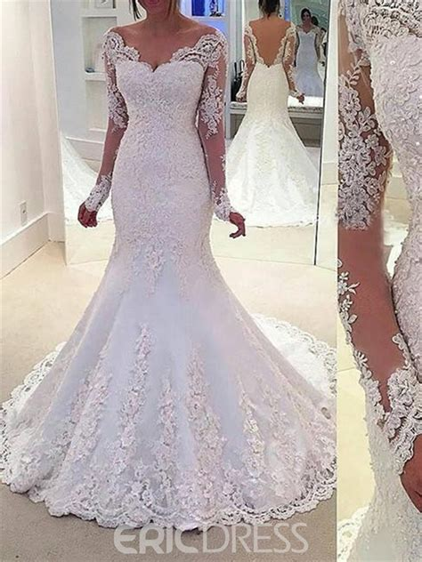 Cheap Beautiful Wedding Dresses by Ericdress Beautiful Beading Sleeves Backless Mermaid