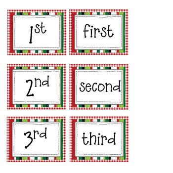 free printable ordinal number cards free christmas ordinal numbers activities by tchrbrowne tpt