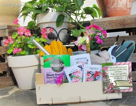 Gift Basket Ideas For Gardeners Gift Basket For A Gardener Gardening Tools Gloves Seeds Fertilizer Watering Can Plants