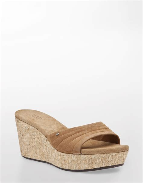 ugg wedge sandals ugg alvina suede wedge sandals in brown brown suede lyst