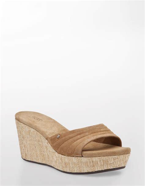 brown wedge sandals ugg alvina suede wedge sandals in brown brown suede lyst