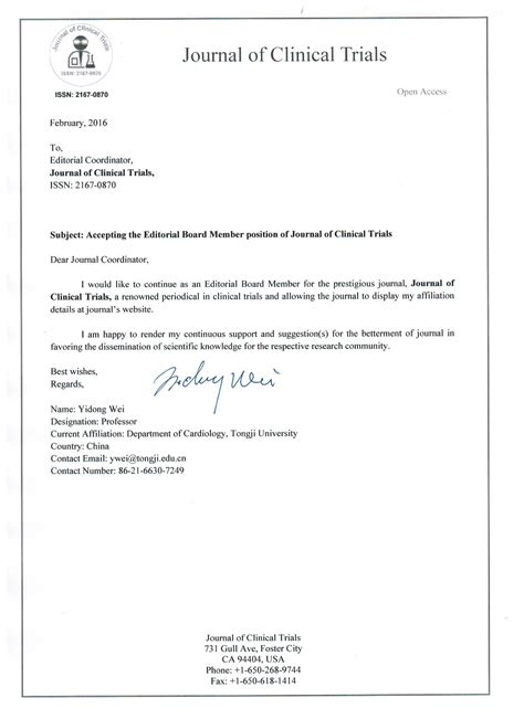 Acceptance Letter For Journal Editors And Editorial Board Journal Of Clinical Trials
