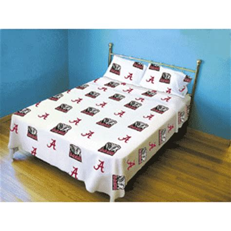 alabama bedroom decor alabama crimson tide 100 cotton sateen twin sheet set white