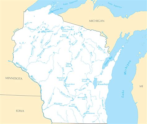 wisconsin lakes map best photos of wisconsin waterways map mississippi river