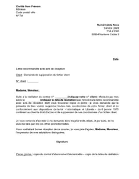Demande De Rdv Lettre Exemple Gratuit De Lettre Demande Suppression Fichier Client Numericable
