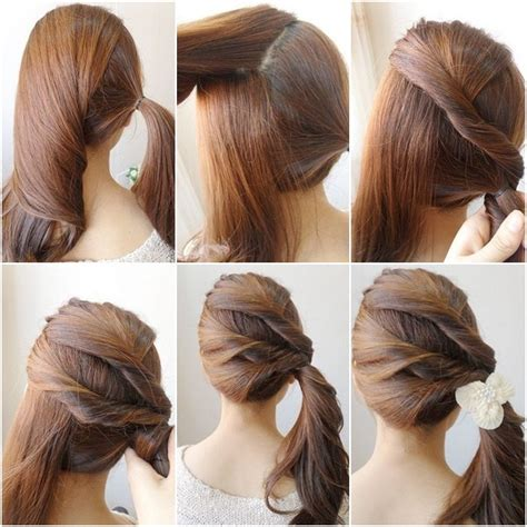 diy ponytail haircut for medium length hair how to diy simple twist side ponytail hairstyle