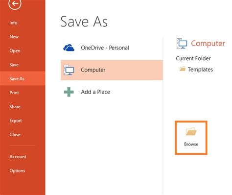 powerpoint files file save as browse
