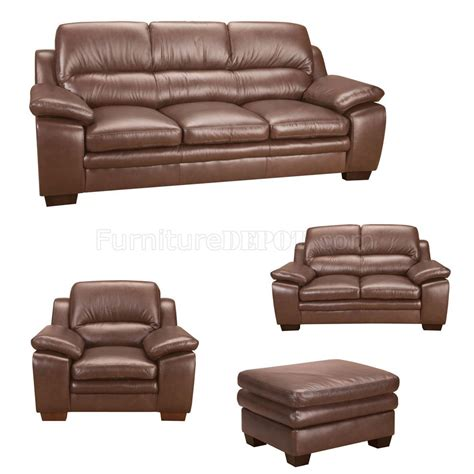 brown italian leather modern 4pc sofa set w wooden legs