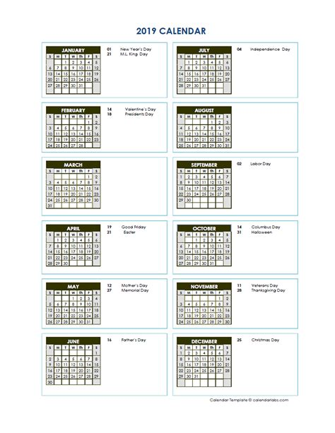 full year calendar vertical template  printable templates