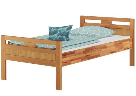 hohes einzelbett massivholzbett seniorenbett buche natur 90x200 einzelbett