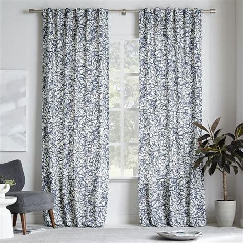 print curtains cotton canvas graffiti print curtain blue lagoon west elm