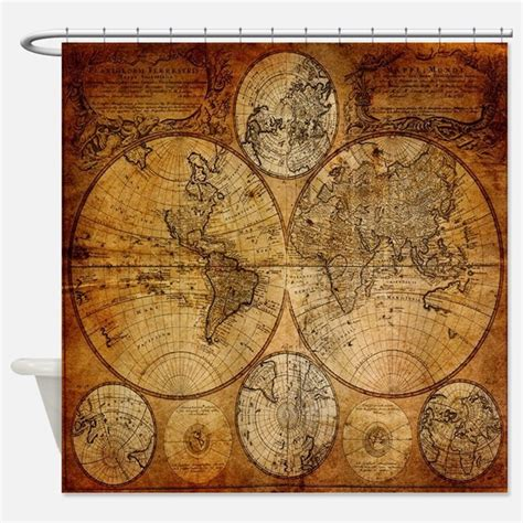 world map fabric shower curtain old world shower curtains old world fabric shower