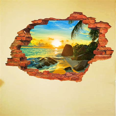 Wallsticker 3 D 3d in the wall by the sea pvc wall decals