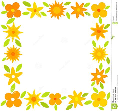border design flower yellow orange flower clipart floral border pencil and in color