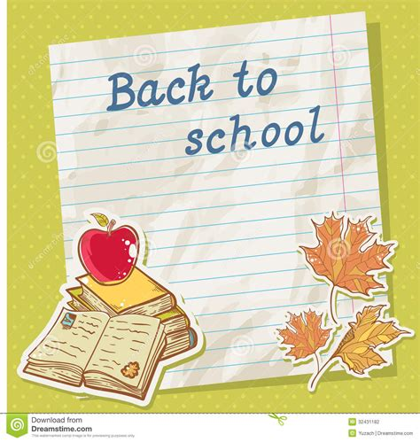 cards at school back to school card on paper sheet with study item stock
