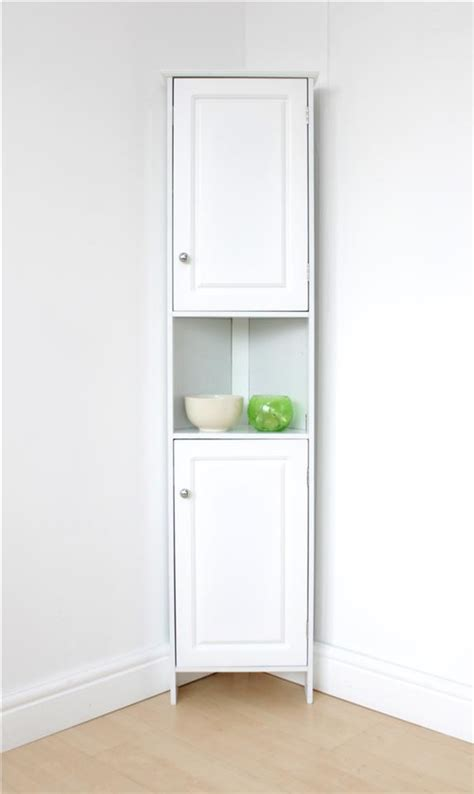 white bathroom corner cabinet with open shelf home