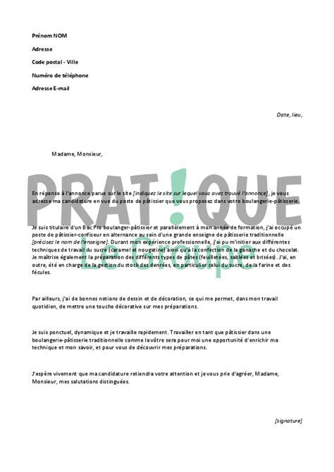 Lettre De Motivation De Patissier Lettre De Motivation Pour Un Emploi De P 226 Tissier D 233 Butant Pratique Fr