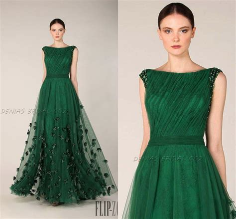 Branded Green Dress For And Size 7y Until 14y emerald green prom dresses formal evening gowns bateau neckline cap sleeves tulle appliques
