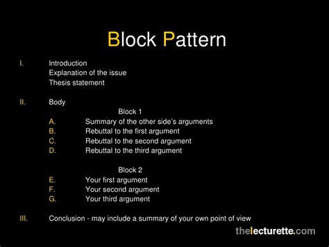 Essay Patterns by Block Style Argumentative Essay Topics Homework For You
