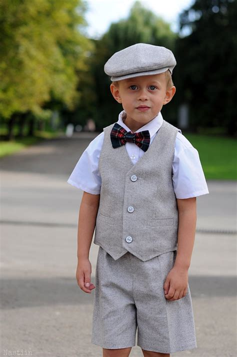 wedding attire toddler boy toddler ring bearer gray baby boy shorts vest and hat