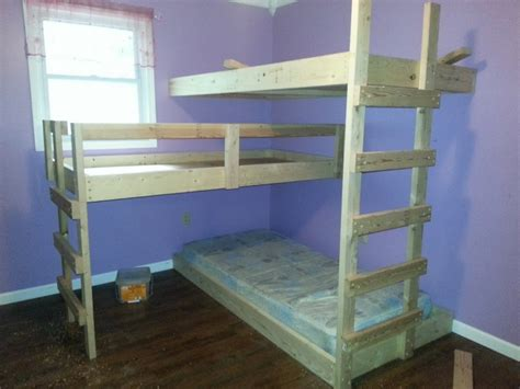 diy triple bunk beds diy triple bunk bed the owner builder network