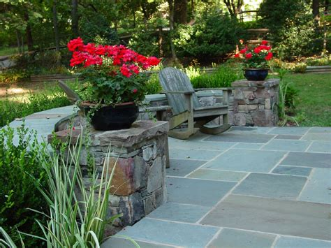 backyard landscapes with natural stone patio designs