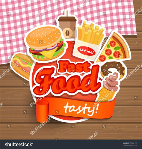 Stiker Label Makanan Produk 1 fast food elements typographical design label stock vector 390631177