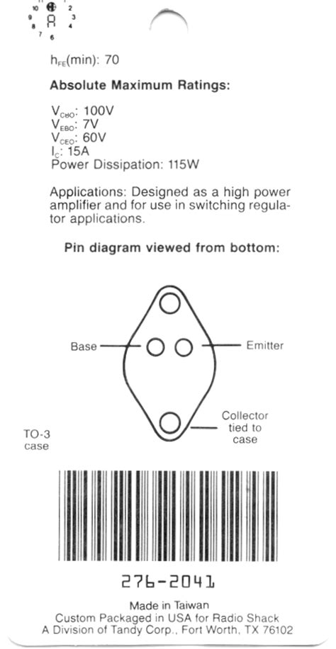 transistor 2n3055 pinout 2n3055 pinout picture image by tag keywordpictures