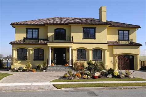house design color yellow stucco mediterranean exterior new york by