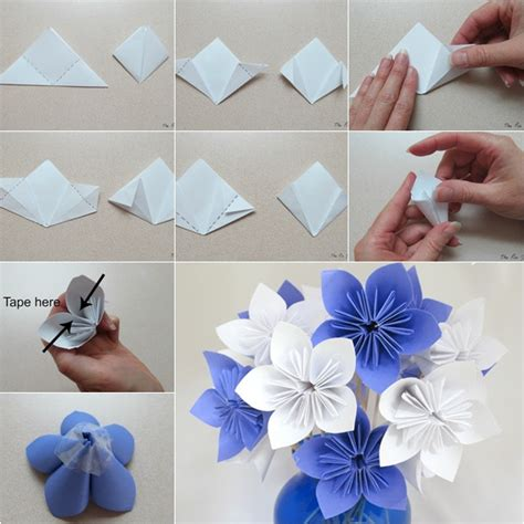How To Make Origami Paper Flowers - diy origami paper flower bouquet howtoinstructions us