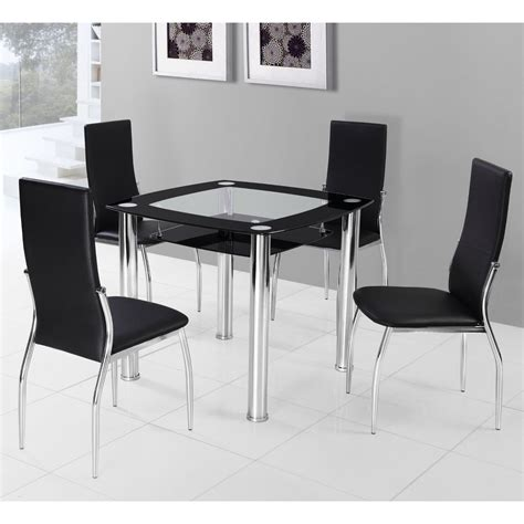 glass dining table 4 chairs square dining table for 4 homesfeed