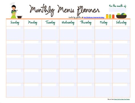 10 monthly menu templates free sle exle format