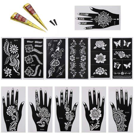 colored henna tattoo kits bundle 14pc mehndi henna starter kit