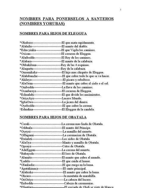 lista de nombres de santos nombres de santeros