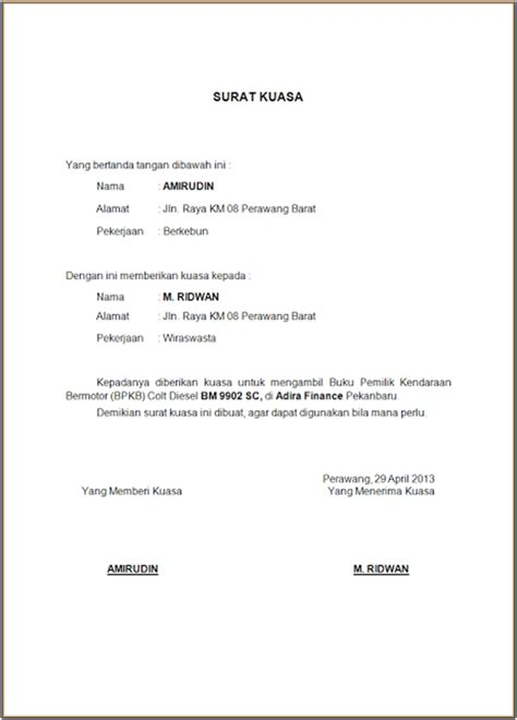 contoh surat kuasa kendaraan bermotor wisata dan info sumbar