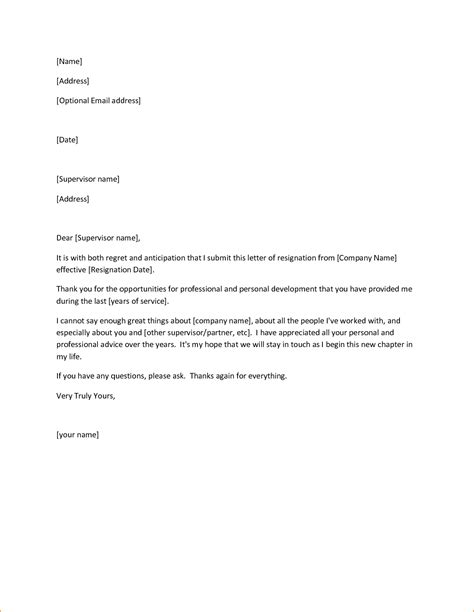 Exles Letters Of Resignation by Exles Of Resignation Letters Resignation Letter Sle