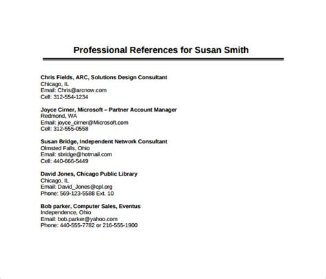 sle professional references template professional
