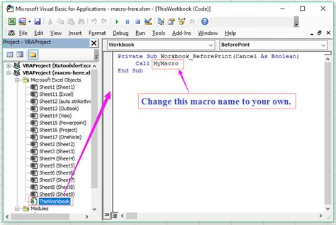 how to a to run how to run macro automatically before printing in excel