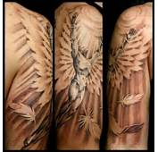 White Feather And Angel Tattoo On Half Sleeve