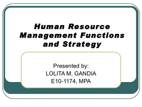Strategic Hrm Ppt For Mba by Hr Functions And Strategy Ppt